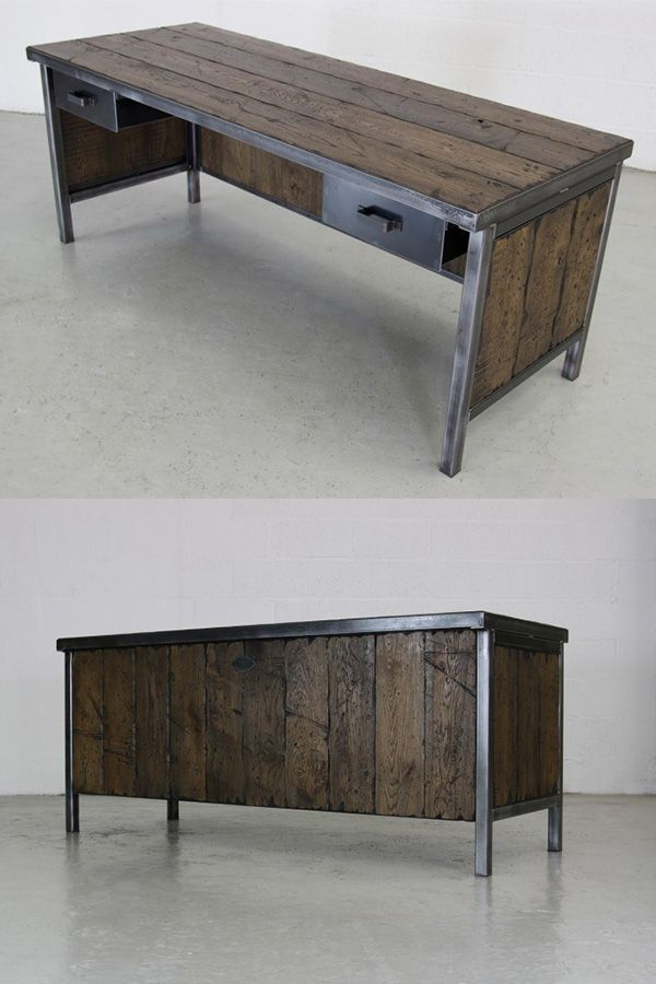 The Admirals Desk Fantastic Industrial Rustic Design Featuring Timber Clad Panels Industrial Office Furniture Rustic Desk Vintage Desk