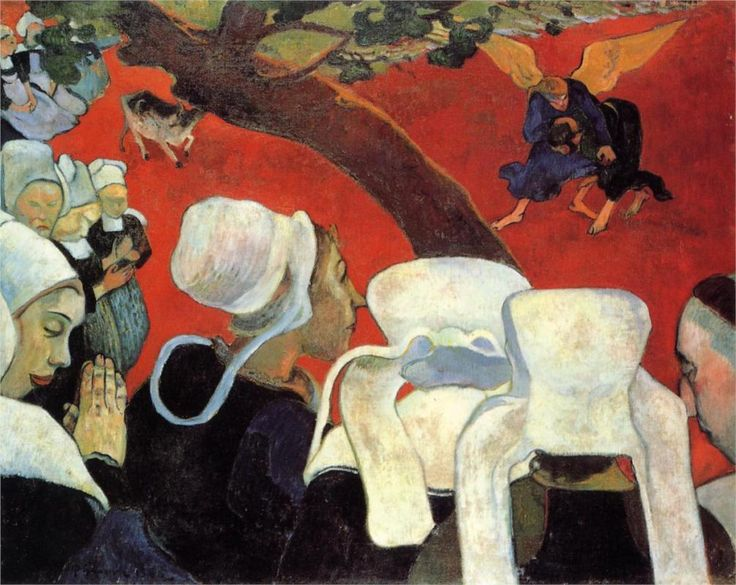 The Vision after the Sermon (Jacob wrestling with the Angel),  1888,  oil on canvas,  74.4 x 93.1 cm. National Galleries of Scotland, Synthetism, Breton period, Paul Gauguin (1848-1903).    Featured in Scene Five of Bonjour M. Gauguin. Despite rejections by the local clergy, Gauguin continued to depict the Passion, set amidst 19th-century Breton life, seen in The Yellow Christ (1889).