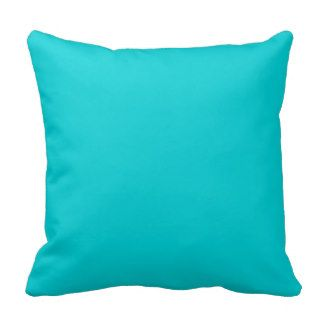 Turquoise Aqua Blue Solid Trend Color Background Throw Pillow