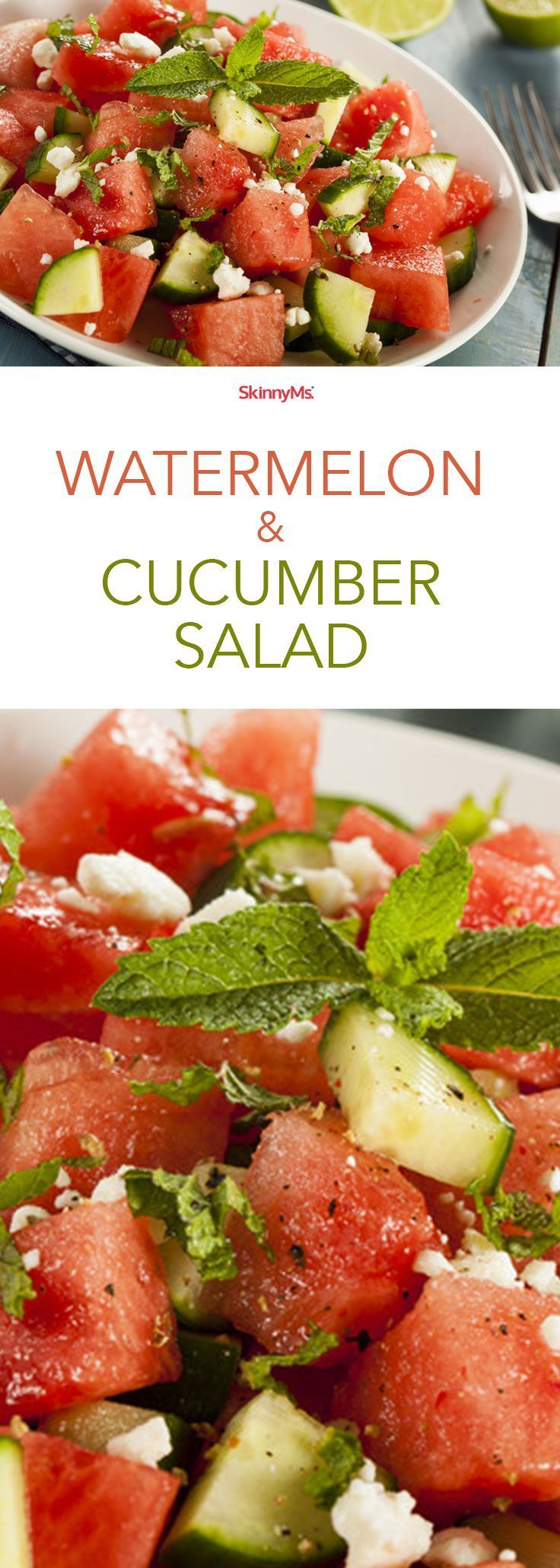 Watermelon & Cucumber Salad - watermelon, cucumber, feta, mint, honey, lime...ahhhh, so heavenly & delightful.  Only 134 calories per serving!