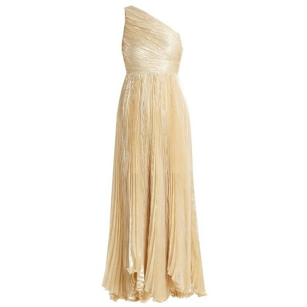 Maria Lucia Hohan Atheer one-shoulder pleated silk-blend gown ($1,837) ❤ liked on Polyvore featuring dresses, gowns, cream, evening dresses, one shoulder evening dresses, ivory evening gowns, cream evening dress and ivory evening dress