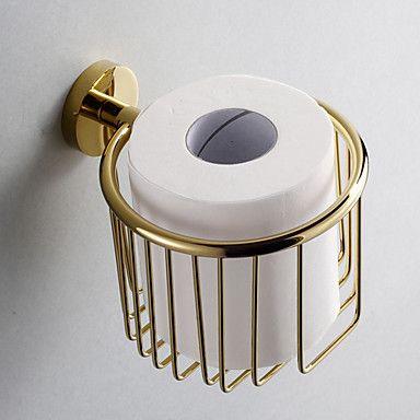 Gold Bathroom Accessories Brass Toilet Paper Holder - USD $ 59.99