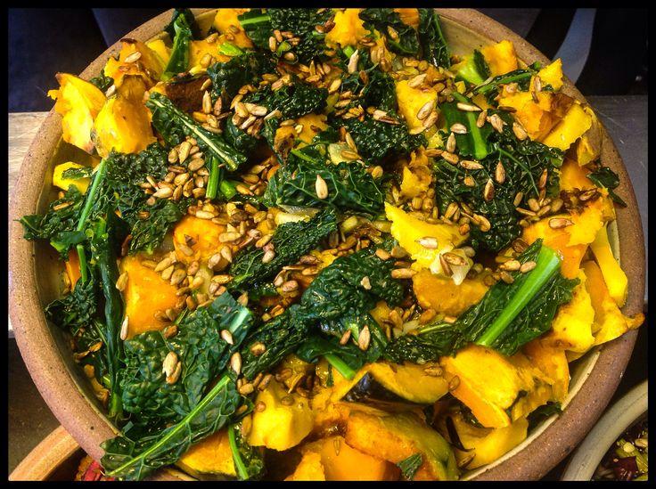 Crown prince squash, kale salad @ Seeds 2 Totnes