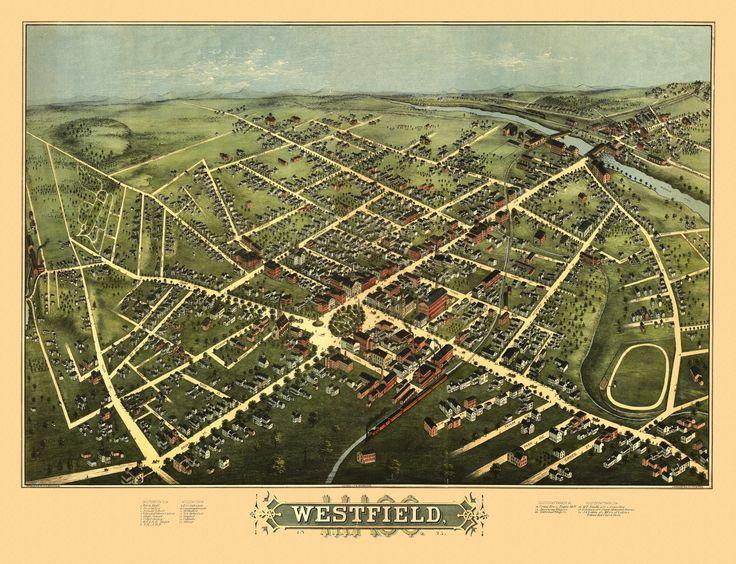 Historic Map of Westfield Massachusetts 1875 Hampden County Poster