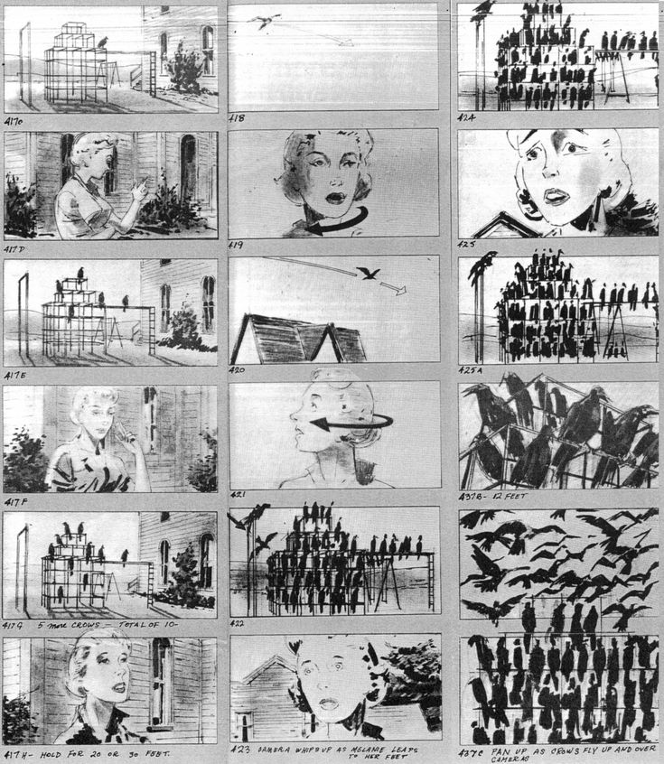 "Storyboards for THE BIRDS by art director Robert Boyle and director Alfred Hitchcock. For the shot of Melanie's face looking at the crows covering the jungle gym, Hitchcock said, ""We will hold that close-up, until the audience can't stand it."""