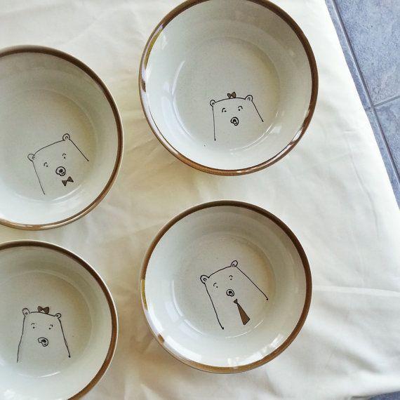 bear bowls by rosemary paper co van rosemarypaperco op Etsy