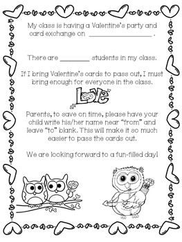 valentine exchange letter