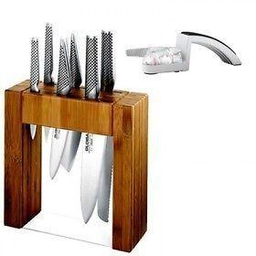 Japanese Knives IKASU GLOBAL BNIB and BONUS Mino SHARPENER Knife Block Set