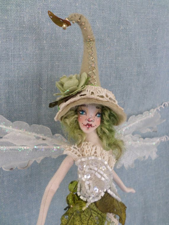 OOAK  Forest Witch Fairy Art Doll  Beaded fiber by paulasdollhouse