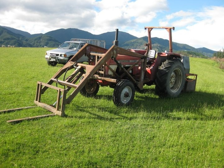 Tractor and Ute lined up on the air strip - 'the away farm'