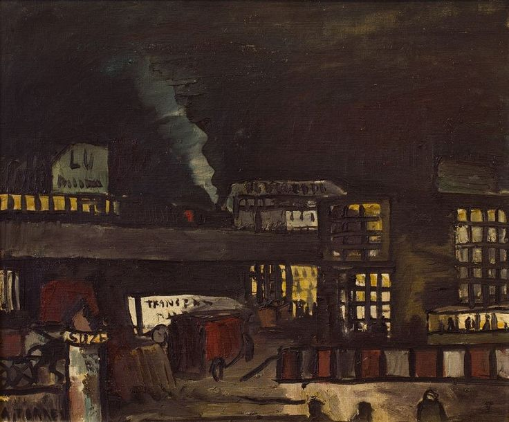 Augusto Torres (1913-1992) Scene Of City at night