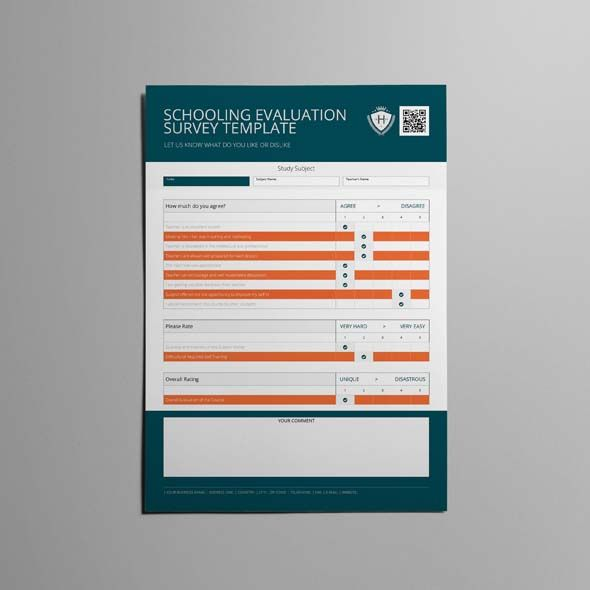Schooling Evaluation Survey Template  Cmyk  Print Ready  Clean