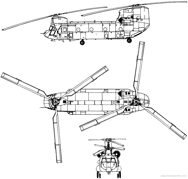 Chinook 3 view schematic Aircraft design, Blueprints