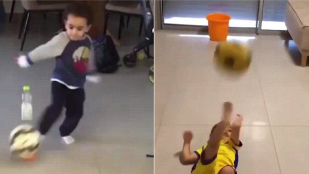 This excitable toddler shows off his incredible football skills finding the back of the net on several occasions
