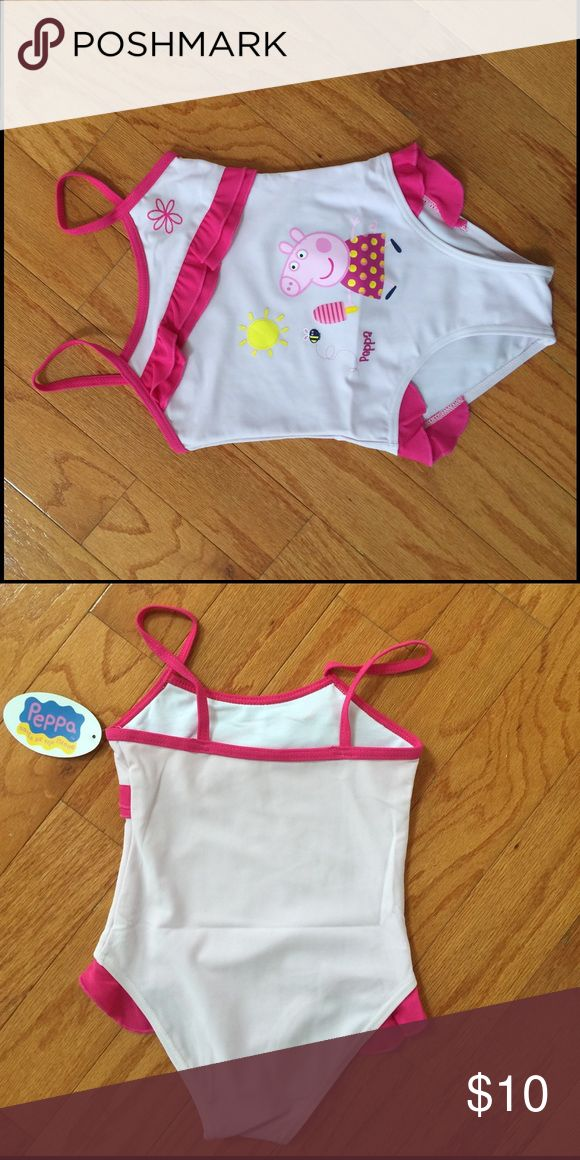 """NWT PEPPA PIG frilly bathing swimsuit 4 8 NEW WITH TAGS  Pink """"frilly"""" PEPPA PIG ruffle hip one piece bathing suit  Size 4 years  Length (top of shoulder to gusset): 18""""  Size 8 Length (top of shoulder to gusset 19.5"""").                        In perfect New With Tags condition.  From a smoke free home. Peppa Pig Swim One Piece"""