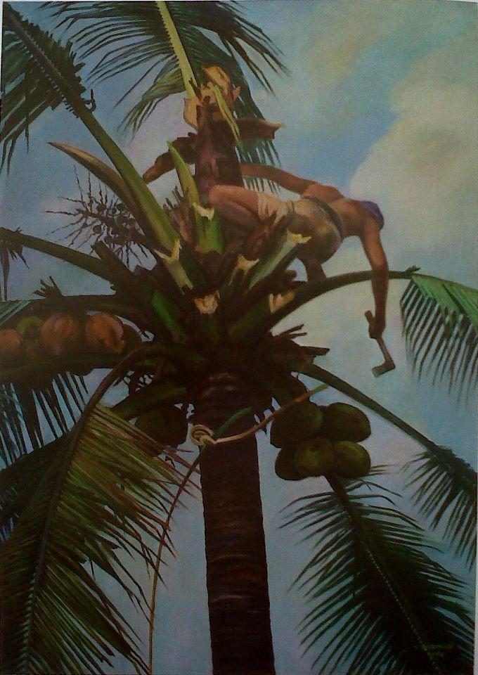 Rustamadji - Hendak Menebang Pohon Kelapa, 1986