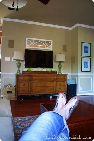 Mounted tv with furniture under it- not so floaty