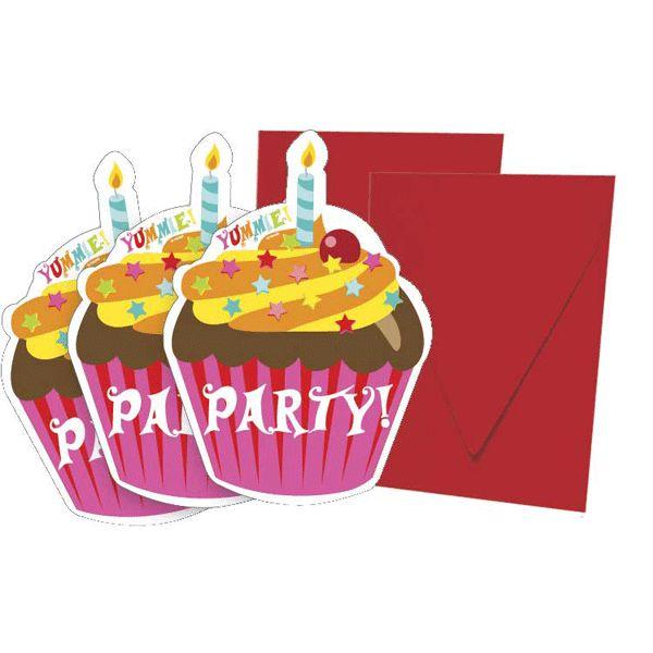 Cupcake thema uitnodigingen 6 stuks. Uitnodigingen in de vorm van cupcakejes, inclusief enveloppen.