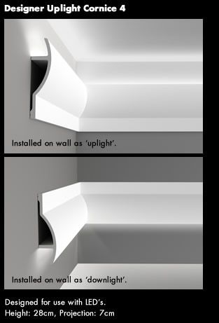 Designer Uplight Cornice 4 Use with LED strips. This one is very expensive, approx £30/m so shop around! Found on ukhomeinteriors.co.uk
