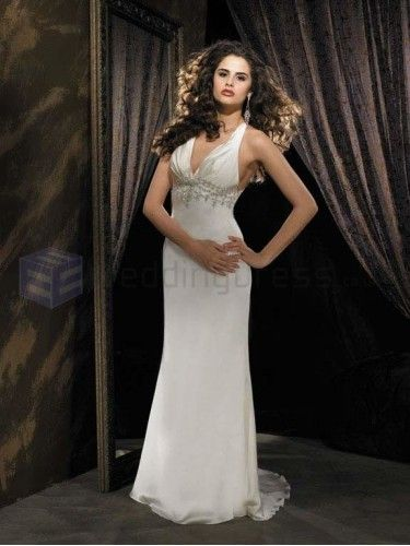 Column Delicately Pleated Bodice V-Neckline Sweep Train Wedding Dresses