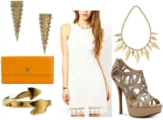 Crochet dress, sparkly gladiator pumps, arrowhead statement necklace, spiked triangle drop earrings, orange clutch, arrow wrap ring.