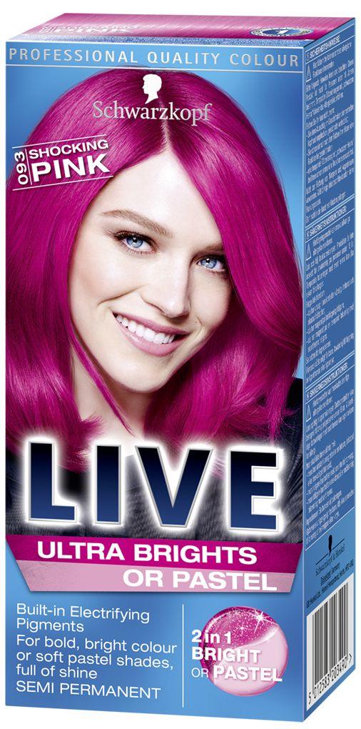 LIVE Ultra Brights or Pastel Shocking Pink, pink hair dye