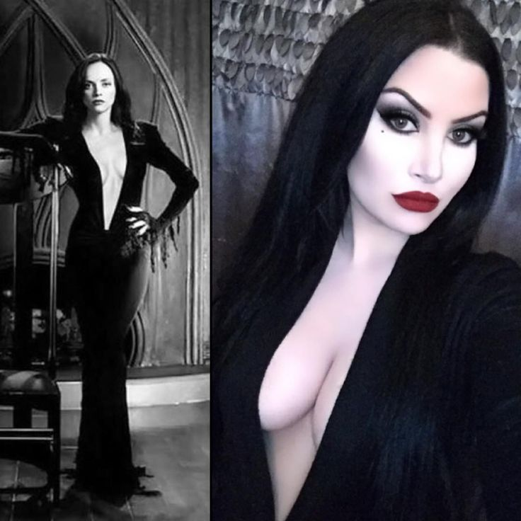 Christina Ricci as Morticia; Harper Leigh on right.