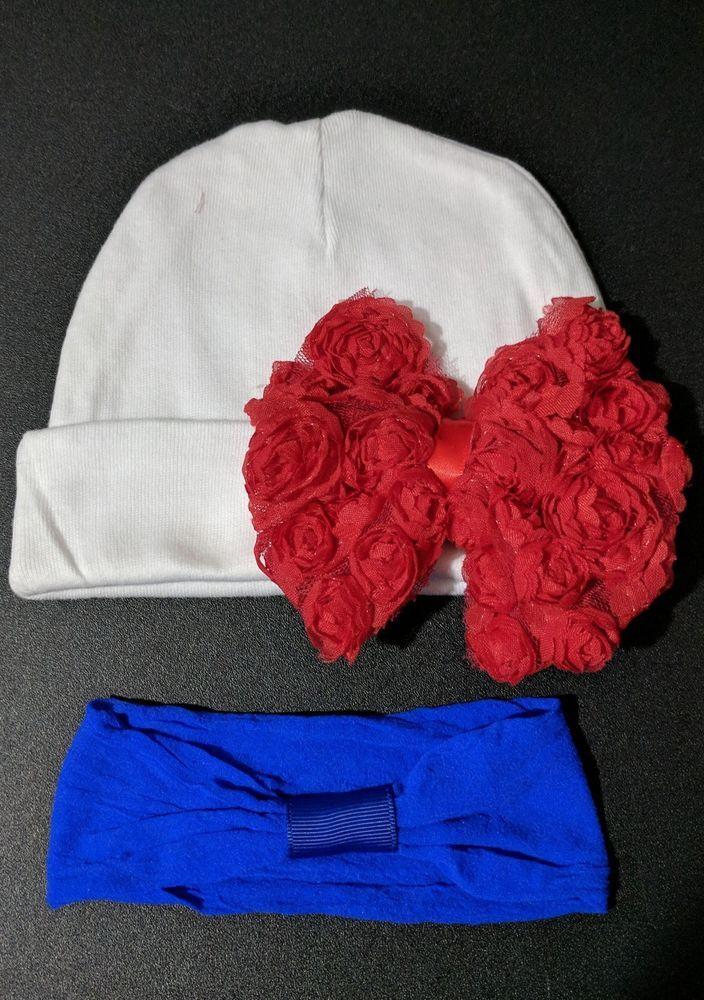 Baby girl beanie white hat red bow alligator clip blue headband 0-6months  #Beanie