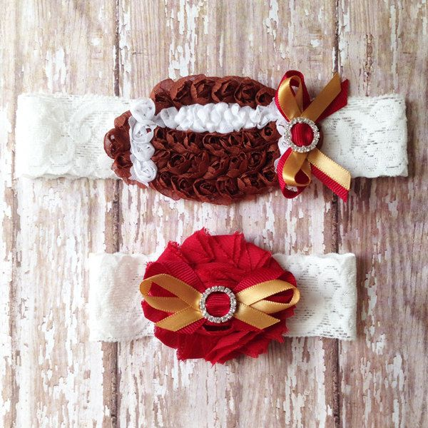Garnet and Gold Football Garter Set | Football Wedding Garters | Bridal and Toss Garter | Customize Your Colors to Match Your Favorite Team by GeekyGarters on Etsy