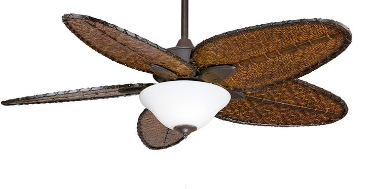 The Islander ceiling fan is one of Fanimation's classic designs that have withstood the test of time. For over thirty years, the natural elegance and versatility of this tropically inspired ceiling fan have contributed to its undiminished popularity. Picture here in Rust with Narrow Bamboo Blades and a White Frosted Glass.