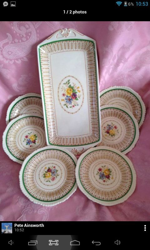 Ridgway platter with matching sides by miablisscurios on Etsy, £20.00