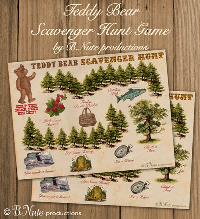 Free Printable Teddy Bear Scavenger Hunt Game from B.Nute productions