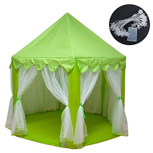 Baabyoo Childrens Play Tents Kids Tent with Lights 53x55 Prince and Princess Playhouse Magical Castle Kids Camping Boy and Girl Fairy House Mosquito Nets for IndoorOutdoor Fun Kids Gift Green *** You can get more details by clicking on the image.