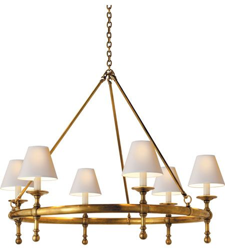 Visual Comfort E.F. Chapman Classic 6 Light Chandelier in Hand-Rubbed Antique Brass SL5812HAB-NP