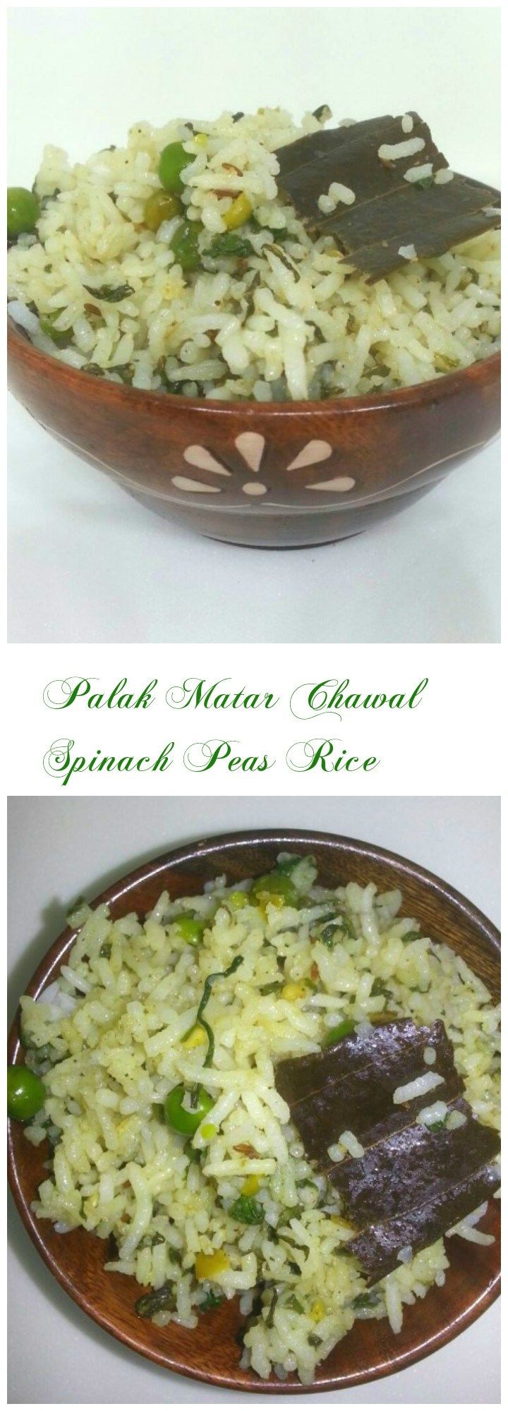 Palak Matar Chawal : A tasty and simple, easy to make pulao with all the goodness of Spinach with tiny green peas coming in between.