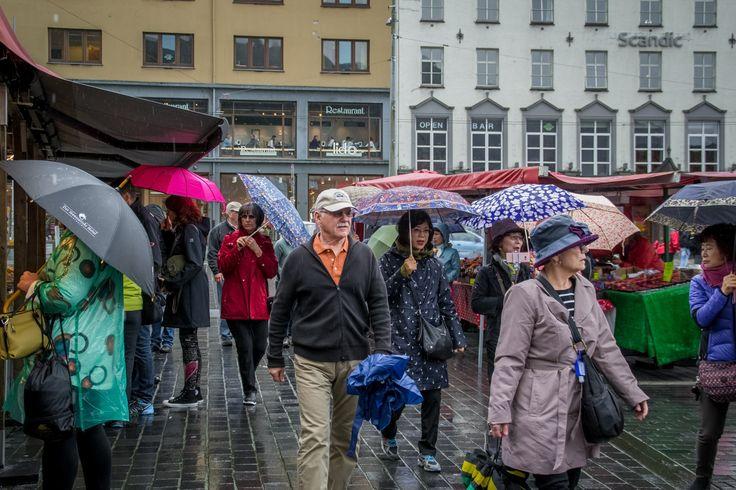 Tourists and Umbrellas