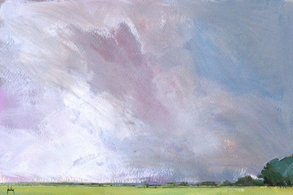 Original skyscape cloud landscape painting  Sky by PaulBaileyArt