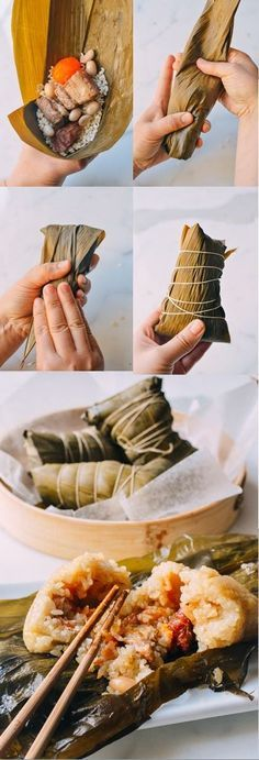 Zongzi (广式粽子), a Cantonese steamed banana leaves treat. Looks like rice, pork belly, salted duck egg yolk, and more. Oh! And Chinese sausages and peanuts. I've never right to put salted egg yolk in one of these things. Yummy!