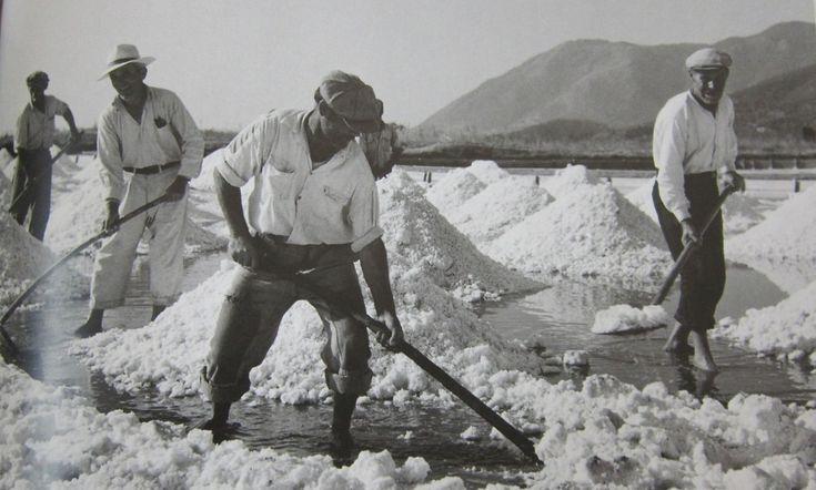 1945. Μάζεμα αλατιού στις Αλυκές.