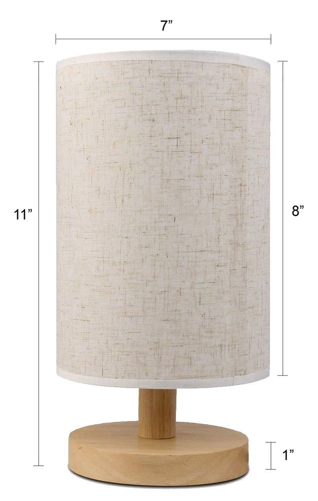 Modern Wood Bedroom Table Lamp With W Dimmer Switch Ships From