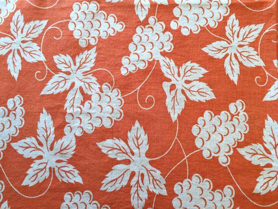 Vintage Printed Feedsack, Orange White Grapes Cotton Fabric, Quilt Repair…