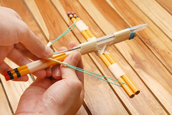 make a small crossbow out of household items crossbow