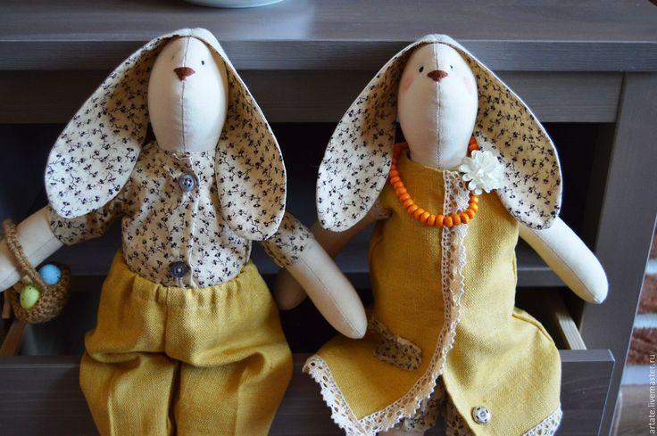 Купить Кролики тильды Яша и Глаша - комбинированный, тильда кукла, заяц игрушка, кролик ТИЛЬДА