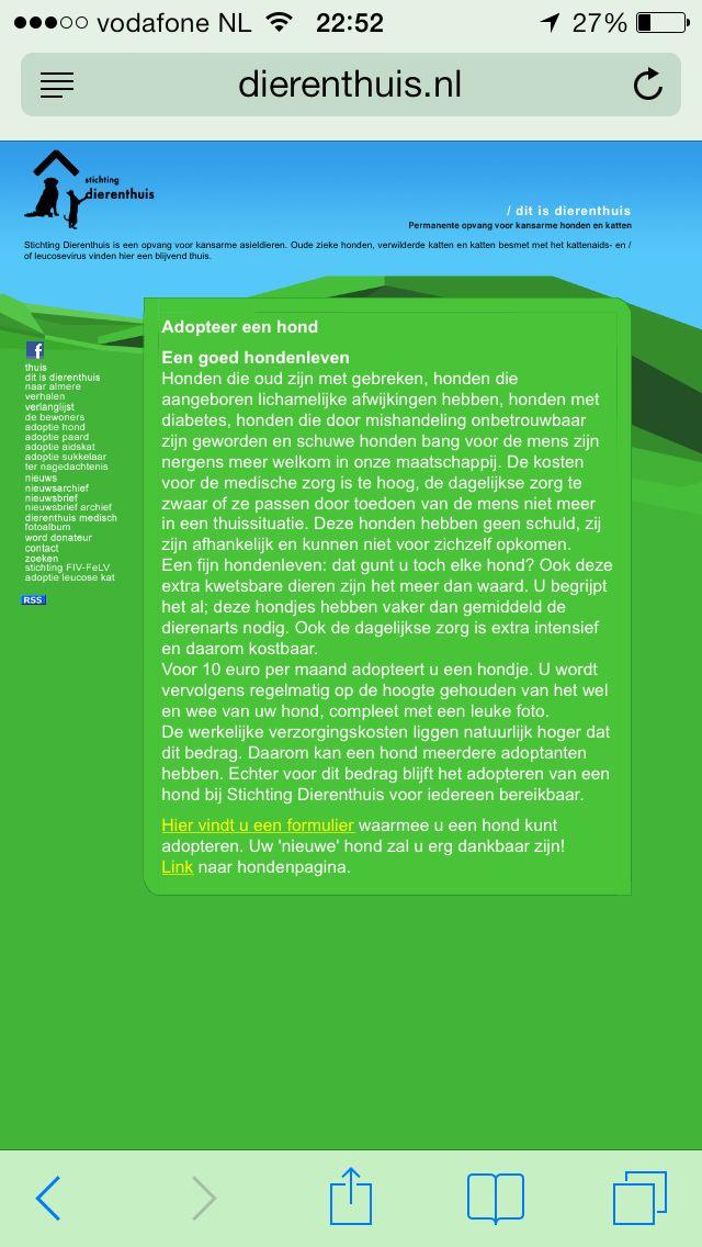 www.dierenthuis.nl adopteer een hond