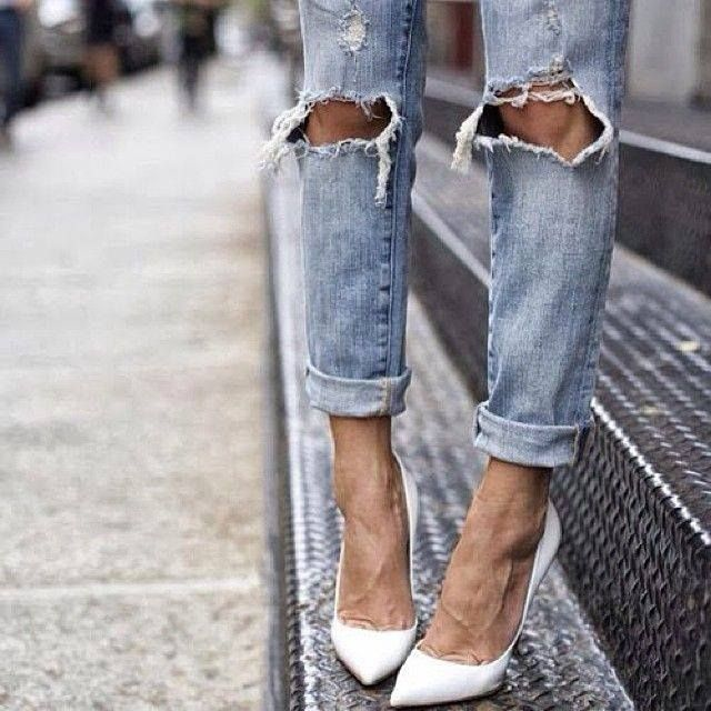 white pumps with boyfriend jeans...