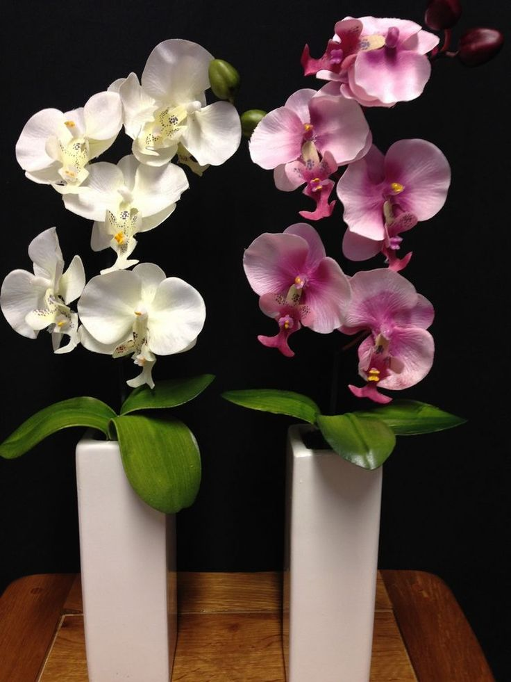 Artificial Orchid Plant In A Pot Potted Flowers in Tall White Plant Pot 42cm #UKGardens