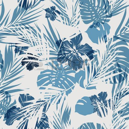 indigo color: Camuflaje Modelo inconsútil del verano hawaiano con plantas tropicales y flores de hibisco, ilustración vectorial Vectores