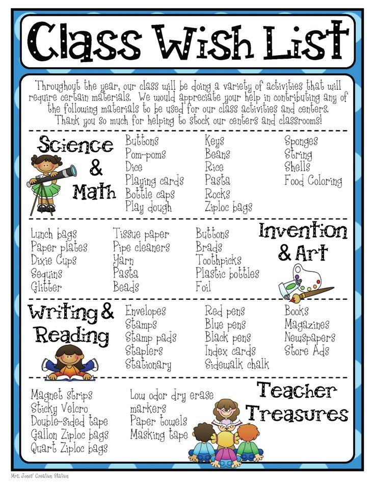Mrs. Jones' Creation Station: Class Wish List