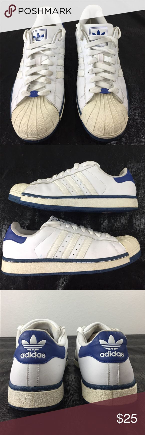 ADIDAS SUPERSTAR Size 11 Adidas Superstar sneakers. 791001 Art No. G09895. White with blue trim.  Signs of wear.  Yellowing on the toe. adidas Shoes Sneakers