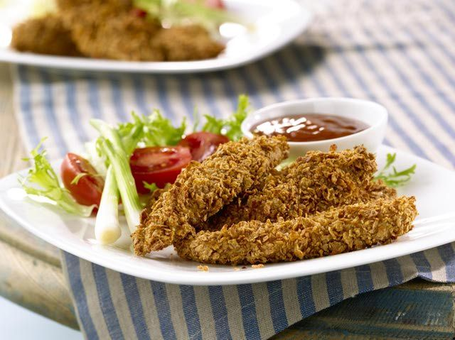 I would use tempeh to make this vegan. I also think I might try crushed almonds in place of the Chex to make it more of a whole food...Use Panko-Style Bread Crumbs for Gluten-Free Chicken Strips